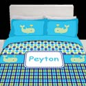 Personalized Whale Splash Toddler Bedding,