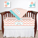 Personalized Mod Chevron Crib Bedding Set