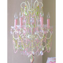Pink and Green 5 Light Diva Chandelier, Nursery Chandeliers | Baby Chandeliers | ABaby.com