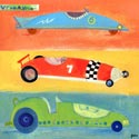 Vroom Vroom Racecars Stretched Art, Train And Cars Artwork | Train And Cars Wall Art | ABaby.com