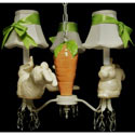 Bunny's Carrot Garden 3 Arm Chandelier, Bunnies Themed Nursery | Bunnies And Bears Bedding | ABaby.com