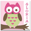 Personalized Owl Canvas Wall Art, Girls Wall Art | Artwork For Girls Room | ABaby.com