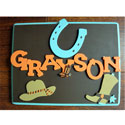 Wild West Cowboy Name Plaque, Name Wall Plaques | Baby Name Plaques | Kids Name Plaques