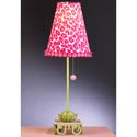 Pink and Green Leopard Waterlily Stick Lamp,