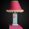 Multi Colored Square Column Lamp with Flowers,