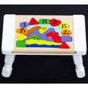 Personalized 3 Dinosaurs Puzzle Stool, Dinosaurs Themed Nursery | Dinosaurs Bedding | ABaby.com