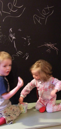 kids having fun with chalkboard paint