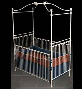 Bunny Rabbit & Angel Iron Canopy Baby Crib