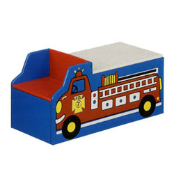 Fire Engine  Toy Box w/ Bench