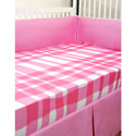 Pink Plaid Crib Bedding Set